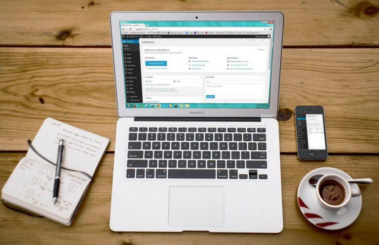 WordPress on laptop